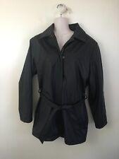 CS Signature Women's Black 2 Pocket Shiny Rain Trench Coat Jacket Size Small
