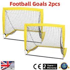 2PC Foldable KIDS FOOTBALL GOALS POST NET BALL Fiber Rods SET INDOOR OUTDOOR UK