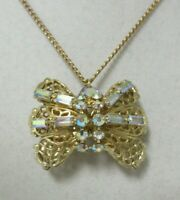Vintage Gold Tone Aurora Borealis Rhinestone Puffed Butterfly Necklace/Brooch