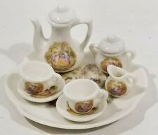Vintage miniature tea set 10 piece in box child's doll house courting scene