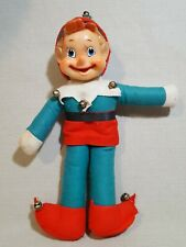 Large Vintage Christmas Elf Pixie Blue Eyes In Red And Blue Outfit Elves