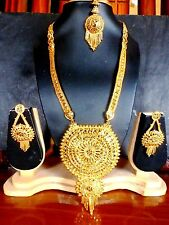 22K Gold Plated 11'' Long Indian Wedding Necklace Earrings Tikka Bridal Set