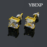 Men's Gold Plated CZ 4mm 6mm 8mm Princess Cut Square ATOP Stud Earrings