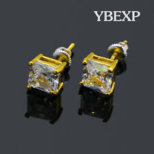 18k Gold Plated 4-8mm Iced Out Princess Cut CZ Square 925 Silver Stud Earrings