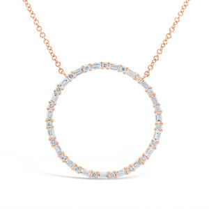 0.75CT 14K Rose Gold Baguette Round Diamond Circle Of Life Pendant Necklace