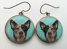 Australian Cattle Dog Blue Heeler Original Art Earrings