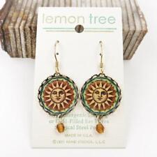Sun Face Print Lace Brass Disc Earrings by Lemon Tree 14K Gold Filled Hook