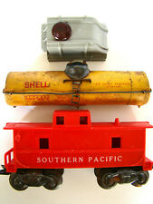 Vintage MARX Model Railroad Train Lot; Southern Pacific Caboose Shell Tanker Top