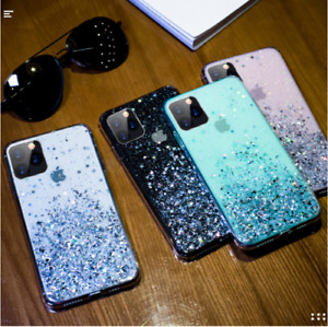Bling Glitter Case For iPhone 11 Pro Max SE Clear Gel Soft TPU Phone Case Cover