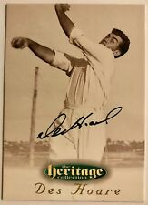 1995 FUTERA HERITAGE CRICKET COLLECTION CARD N0 34/60 SIGNED DES HOARE