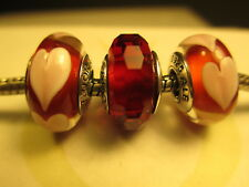 3 Authentic Pandora Silver 925 Ale Fascinating Red Love Pink Hearts Beads Charms