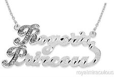 Personalized Diamond 2 Name Nameplate Necklace 20MM Sterling Silver