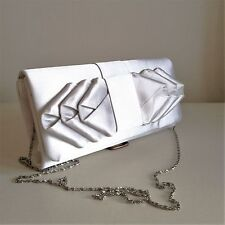 Ladies Silver Shoulder Evening Wedding Clutch Bag with Bow