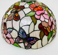 Tiffany Style Lamp Shade Butterfly Stained Glass Floral Shade