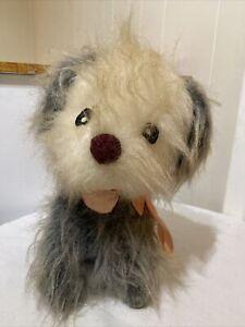 Vintage Mary Meyer Plush Stuffed Shaggy Haired Dog Pink Ribbon Felt Eyes Mouth