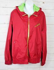 Billabong Men's Red Lime Green Zip Up Hooded Lightweight Jacket Size Medium