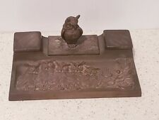ANTIQUE CAST BRASS OWL INKWELL & TRAY # 4580 WITH ORIGINAL JARS PATINA