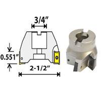 """90 Degree Indexable Face Mill Cutter 2-1/2"""" x 3/4"""" 6 Flute APMT APKT CNC Insert"""