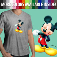 Mickey Mouse Wink Cute Cartoon Mens Unisex Tee V-Neck T-Shirt Walt Disney Mascot