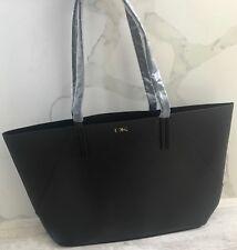 cce22d3a349 DONNA KARAN COSMETICS black faux pebble leather purse tote bag shopper NEW