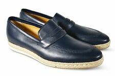 A.Testoni Blue Leather Slip On espadrilles Shoes 9.5 UK/ 10.5 US