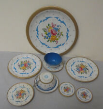 """Ohio Art Tin Play Dishes, Tray 6.25"""" 2 Plates 4"""" 2 Plates1.75"""" 2 Cup Saucer Vint"""