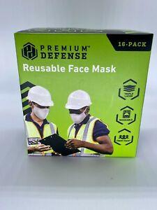 New $39 Premium Defense Reusable Face Mask 16pk White Triple Layer Washable