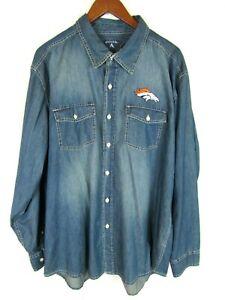 Antigua NFL Denver Broncos Mens XXL Long Sleeve Chambray Denim Shirt 2XL