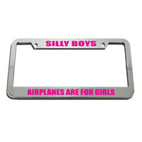 Chrome METAL License Plate Frame SILLY BOYS MUSTANGS ARE FOR GIRLS Auto Accessry
