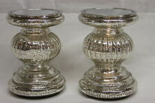 Set of 2 Lit Candle Holder Pedestals w/ Mirror Inserts by Valerie SILVER RTL$37