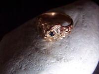Wunderschöner-Eichenlaub-Eule-Uhu-Ring-585er-Rose-Gold-blaue-Saphire