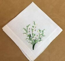 Vintage Ladies Hanky, Lilies Of The Valley, Embroidered Flowers, Linen, White