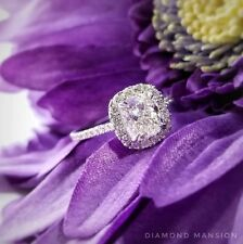 1.70ctw Natural Cushion Halo Pave Diamond Engagement Ring - GIA Certified
