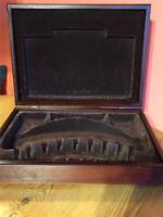 Vintage Empty Wooden Cutlery Box  with Brown Lining 39cm x 29cm x 9cm