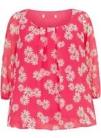 NEW EVANS UK  22 24 PINK FLORAL BUBBLE PLUS SIZE TOP TUNIC BLOUSE
