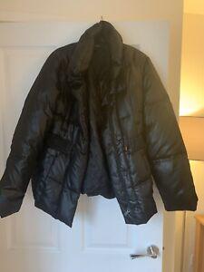 Marks And Spencer Bubble Elasticated Waist Black Coat Size 12