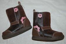 TODDLER GIRLS Faux Leather Brown BOOTS Pink Glitter Flower Size 2 GARANIMALS