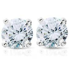 1 1/4ct Round Cut Diamond Stud Earrings Solid  14K White Gold
