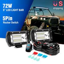 Nilight 5Inch 72W Flood Light Bar and 5PIN Wiring Harness-2Lead,2 Years Warranty