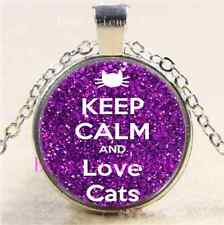 Keep Calm And Love Cat Cabochon Glass Tibet Silver Chain Pendant  Necklace