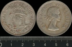 South Africa: 1953 2/6 2½ Shillings QEII Two & Half Shillings silver