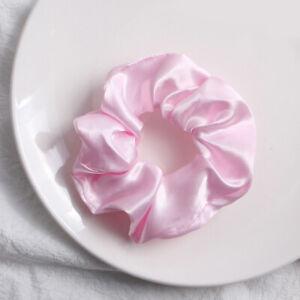 Women Satin Large Intestine Hair Loop Solid Color Elastic Scrunchie Hair Rope *