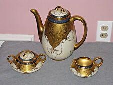 GOLD GILTED Bavarian 5 Piece PORCELAIN Tea Set MINT Signed Osborne