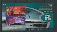 Nouvelle-zélande 1999 australie'99 exhibition, scenic ciel miniature feuille f. utilisé