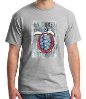 Blue White Red Turtle Adult's T-shirt American Sea Turtle Tee for Men - 1570C