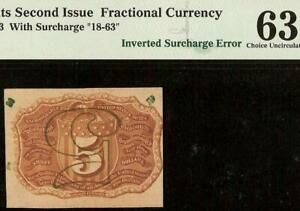 UNC INVERTED PRINT ERROR 5 CENT FRACTIONAL CURRENCY POSTAGE NOTE Fr 1233 PMG 63