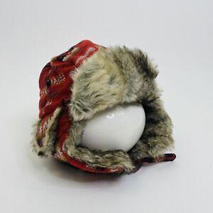 Pendleton Wool Red Lumberjack Plaid Aztec Trapper Faux Fur Hat L/XL Unisex
