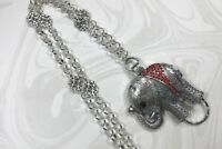 Sparkly Red Elephant  Lanyard, Silver Chain Badge ID Holder, Breakaway Option