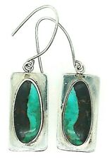 Native American Sterling Silver Boulder Turquoise Signed Drop Dangle Earrings