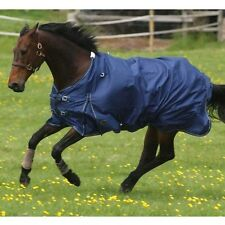 """Mark Todd Lightweight Combo Horse Turnout Rug Navy And Aqua Sizes 5'6"""" To 7'3"""""""